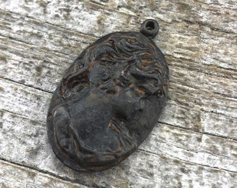 Cameo Charm, Cameo Pendant, Rustic Cameo, Rustic Brown, Antiqued Cameo, Victorian, Metal Cameo