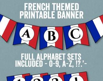 French Flag Bunting Printable Any Phrase DIY France Party Banner Diy Alphabet