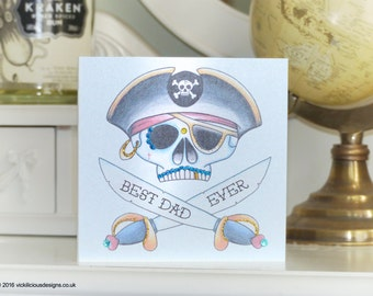 BEST DAD EVER Pirate sugar skull tattoo handmade Father's Day card