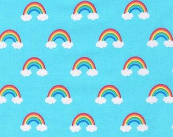 Small Rainbows on Blue from Robert Kaufman's Happy Little Unicorn Collection