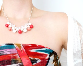 Pink and white wood beads NECKLACE