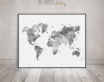 Grey world map etsy world map watercolor print travel map large world map minimalist world map gumiabroncs Gallery