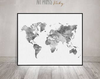 Travel world map skyline wall art poster world map world map watercolor print travel map large world map minimalist world map gumiabroncs Images