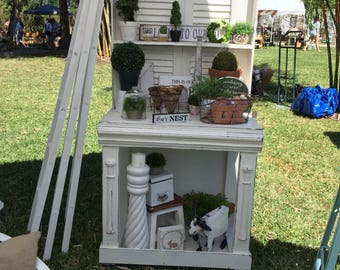 Potting Bench with Vintage Shutters, on wheels