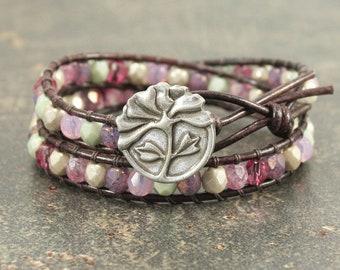 Pink Peony Bracelet Off White Green Pink Lavender Silver Peony Jewelry Shabby Boho Chic Double Leather Wrap Bracelet Flower Jewelry