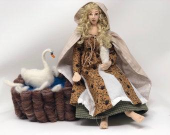 Wild Swan cloth art doll Fairytale princess needle felt white swan soft sculpture