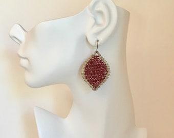 Garnet gemstone silver teardrop hoop statement earrings