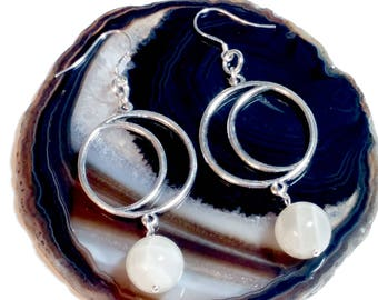 Moon Earrings, Moonstone Jewelry, Sterling, Metaphysical, Wiccan, Pagan, Celestial, Gypsy Soul, Goddess, Magick, Waxing, Waning, Moon Phases
