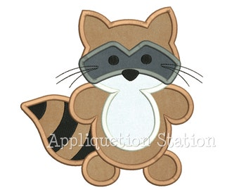 Woodland Raccoon Applique Machine Embroidery Design Pattern Boy baby animal racoon INSTANT DOWNLOAD