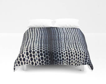 XL Authentic Indigo, Shibori/Tie-dyed, Mudcloth, Bed Cover, Coverlet, from West Africa - Indigo, White