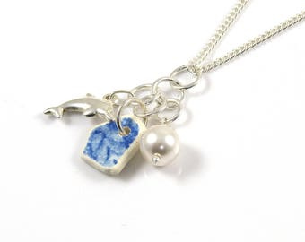 Poterie, Dauphin argent, perle Swarovski, Trio collier, pendentif, collier grappe, poterie de mer, la ligne de rivage de la plage