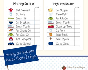 Instant Download Printable Morning and Nighttime Routine TO DO / CHORE Charts for Boys
