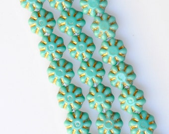 9mm Flower Beads with Gold Decor - Czech Glass Beads - Glass Flower Beads - Various Colors - Qty 25