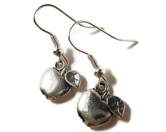 Silver Apple Earrings, Fruit Earrings, Gift for Teacher, Apple Charm Earrings, Dangle Earrings, Women's Jewelry, Gift Idea, Gifts Under 5