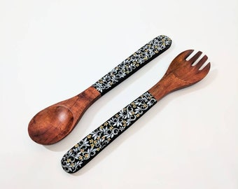 Hand Painted Wooden Serving set: flowers and vines Wooden serving set wooden spoon and fork Salad servers