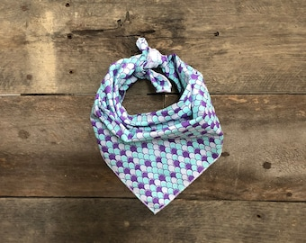 Mermaid Purple & Blue Scales Tie On Dog Bandana