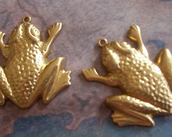 2 PC Raw Brass Frog Jewelry Finding / Pendant - H0173