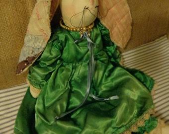 Esmerelda - Original Elegant Rabbit Made From Antique Fabrics.  FREE US SHIPPING!
