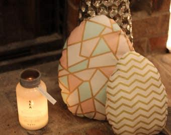Set of Two Easter Egg Pillows / Holiday Pillows /Easter Decor / Chevron Throw Pillow / Decorative Easter Pillow