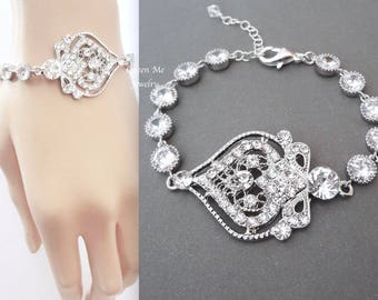 Crystal statement bracelet Crystal wedding bracelet Brides bracelet Art deco Bridal wedding jewelry Victorian wedding bracelet  MAE