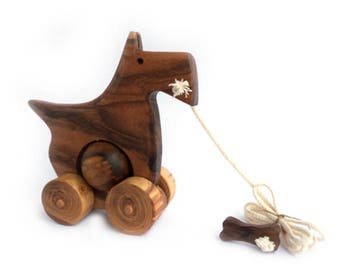 Wooden pull toy eco friendly - SCOTTISH TERRIER - Roger