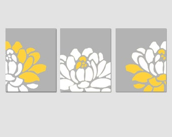 Flower Wall Art Flower Wall Decor Set of 3 Prints - Shown in Yellow and Gray - Choose Your Size and Colors