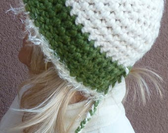 Wear your winter hat in your style, crochet green and white winter hat with a tail, winter warm and chic, women's winter hat
