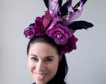 Black and Magenta Purple Feather flower fascinator headband headdress two in one reversible headpiece Spring Racing