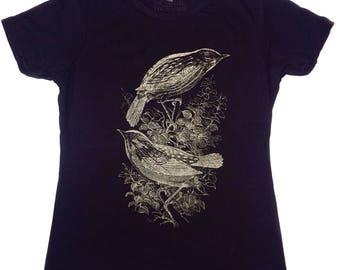 birds tshirt, vintage tshirt, vintage bird tshirt, gold birds,  1AEON hand silk screened Birds women's t shirt S-XXL