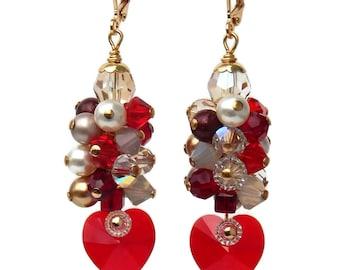 Red Crystal Heart Swarovski Earrings, Valentine's Day Earrings, Swarovski Crystal Hearts, Heart Jewelry, Statement Earrings, Gift for Her
