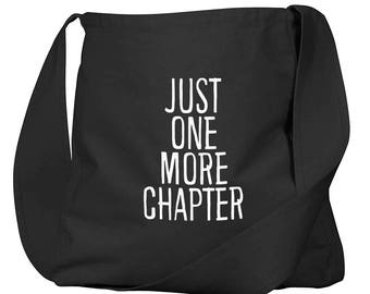 Just One More Chapter Black Organic Cotton Slouch Bag