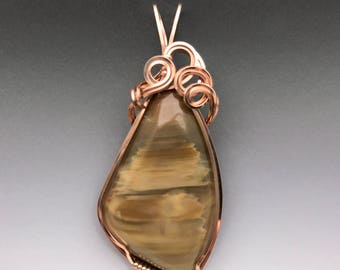 Petrified Wood 14k Pink Rose Gold-Filled Wire Wrapped Pendant - Ready to Ship!