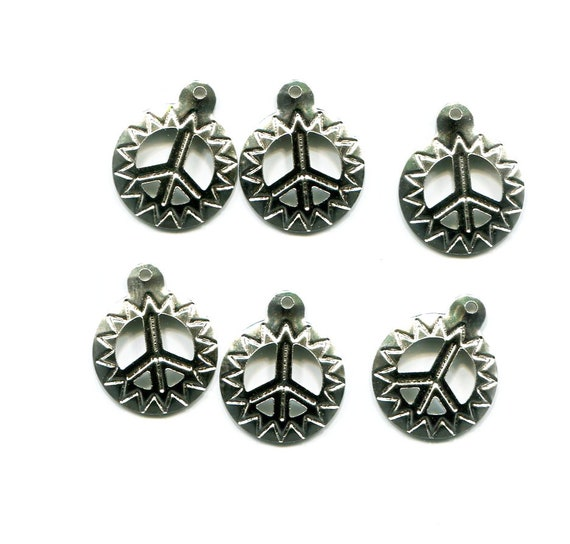 peace sign charms sun charms metal silver tone 6 pc 15mm  jewelry supplies findings