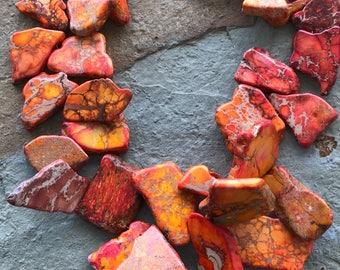 Big bold chunky sunset orange sediment jasper statement necklace