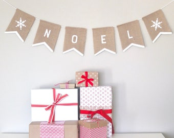 NOEL Burlap Bunting Garland Banner - Hand-painted white on hessian burlap - Christmas/Holiday/Home Décor