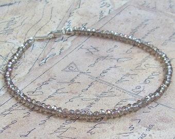 Mystic Labradorite Bracelet, gemstone bracelet, sterling silver, blue, gray, gems, beaded, facceted, stacking bracelet