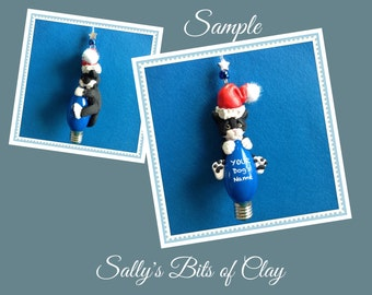 Black and White Tuxedo Santa Cat Christmas Holidays Light Bulb Ornament Sally's Bits of Clay PERSONALIZED FREE with cat's name