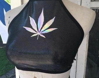 420 halter top holographic spandex black and silver crop top