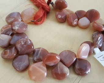 "Peach moonstone briolettes. 8"" strand. Strand A. Beadwork, Jewelry making, Jewelry supply."