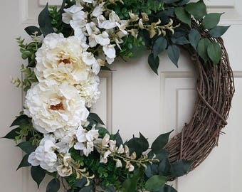 White Floral Wreath with Peonies and Succulent Accents on Grapevine   Fall Spring and Summer Wreath   Neutral Off-White Front Door Wreath