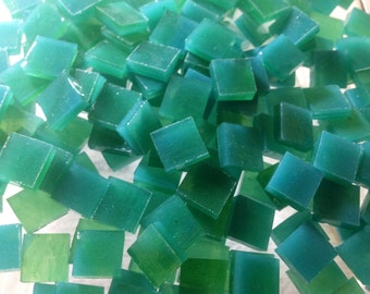 "100 3/8"" AQUA GREEN Opal & LIME Transparent Stained Glass Mosaic Tile A32"