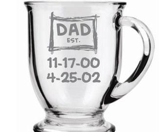 Dad Established Choice of Pilsner, Beer Mug, Pub, Wine Glass, Coffee Mug, Rocks, Water Glass With Birthdate of Kids Sand Carved (etched)