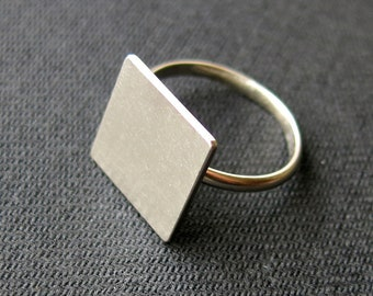 Ring with square, plain plate, Sterling Silver Ag925