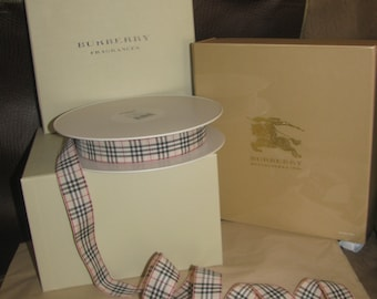 """NEW! Authentic Burberry Nova Check Fabric Ribbon, Sold by the foot, Customizable 1"""" wide x ?"""