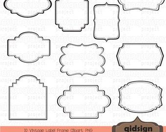 Vintage Label Frame Clipart Scrapbook Embellish Blog GraphicsPersonal And Commercial UseInstant Download