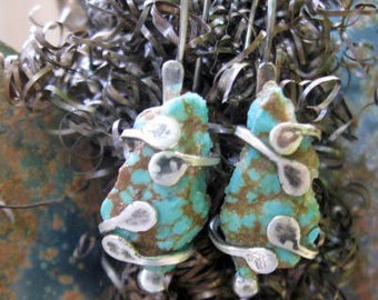 Sterling silver and rough spotted turquoise stone earrings
