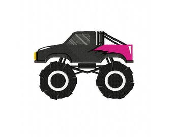 Black monster truck toy vehicle machine embroidery design