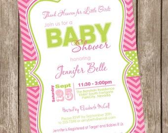 Thank heaven for little girls baby shower invitation, pink, green, stripe, chevron, printable invitation