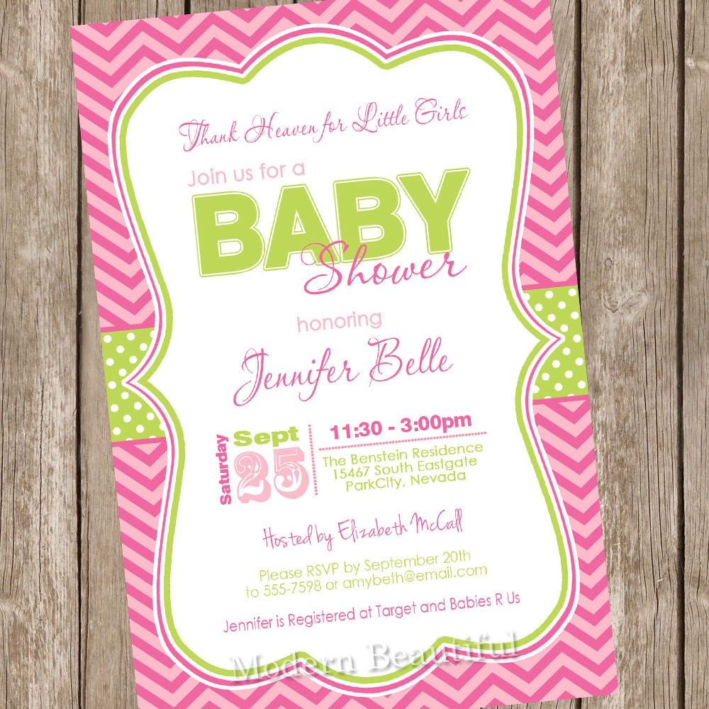 Thank heaven for little girls baby shower invitation pink