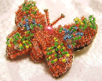 Vintage Beaded Butterfly Brooch Coral, Blue, Green Yellow Made in Japan Wired Beads (J23)
